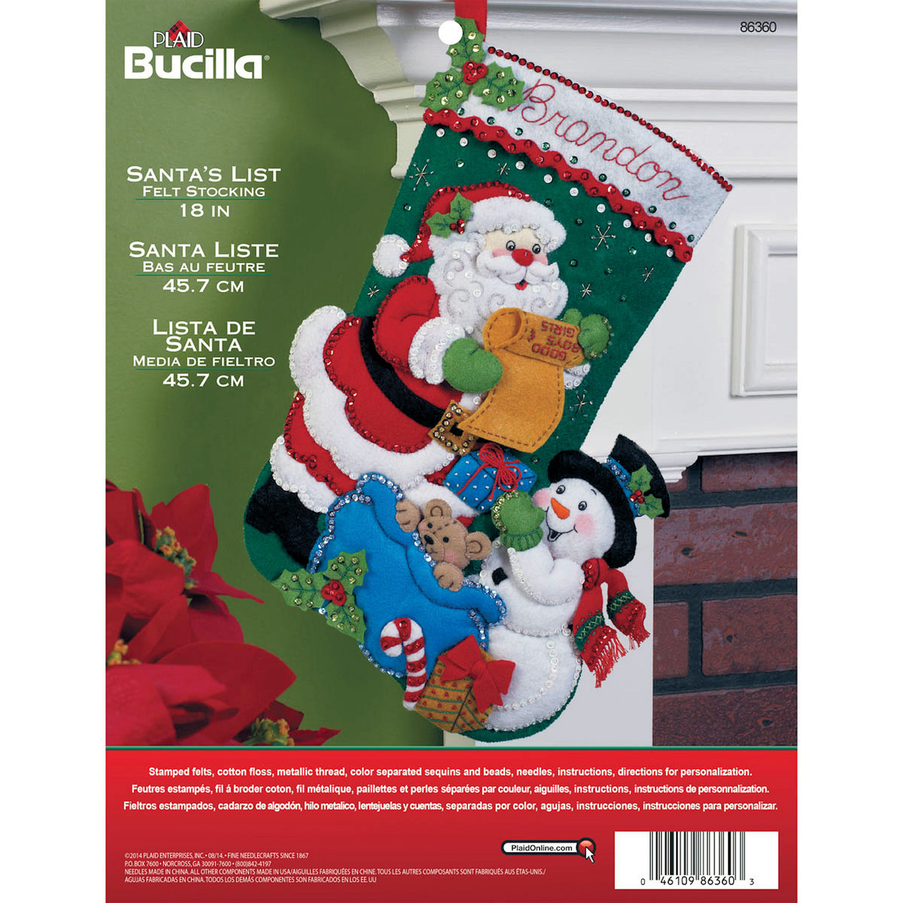 Plaid / Bucilla - Santa's List Stocking
