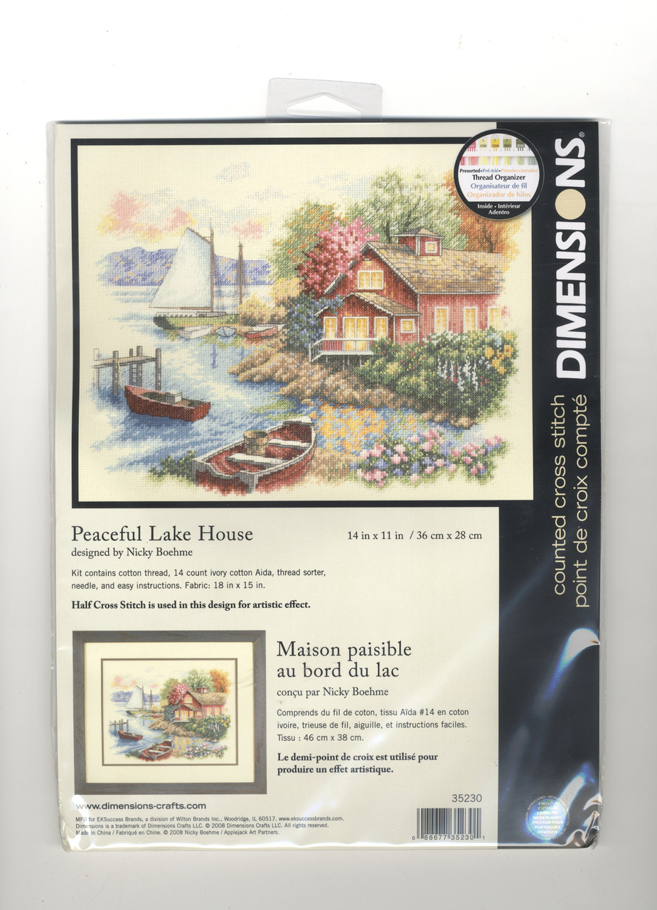 Summer Cottage Dimensions Gold Collection Counted Cross Stitch Kit 14 Count Ivory Aida Cloth 14 x 11