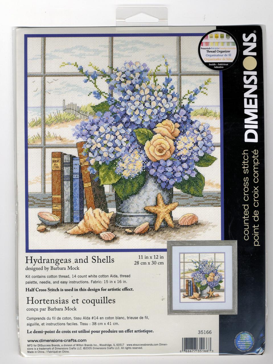 Dimensions - Hydrangeas and Shells