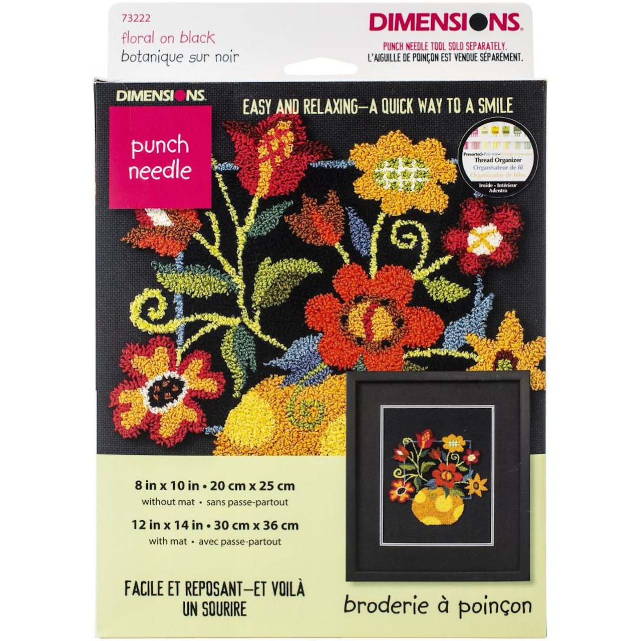 Dimensions Punch Needle - Floral On Black