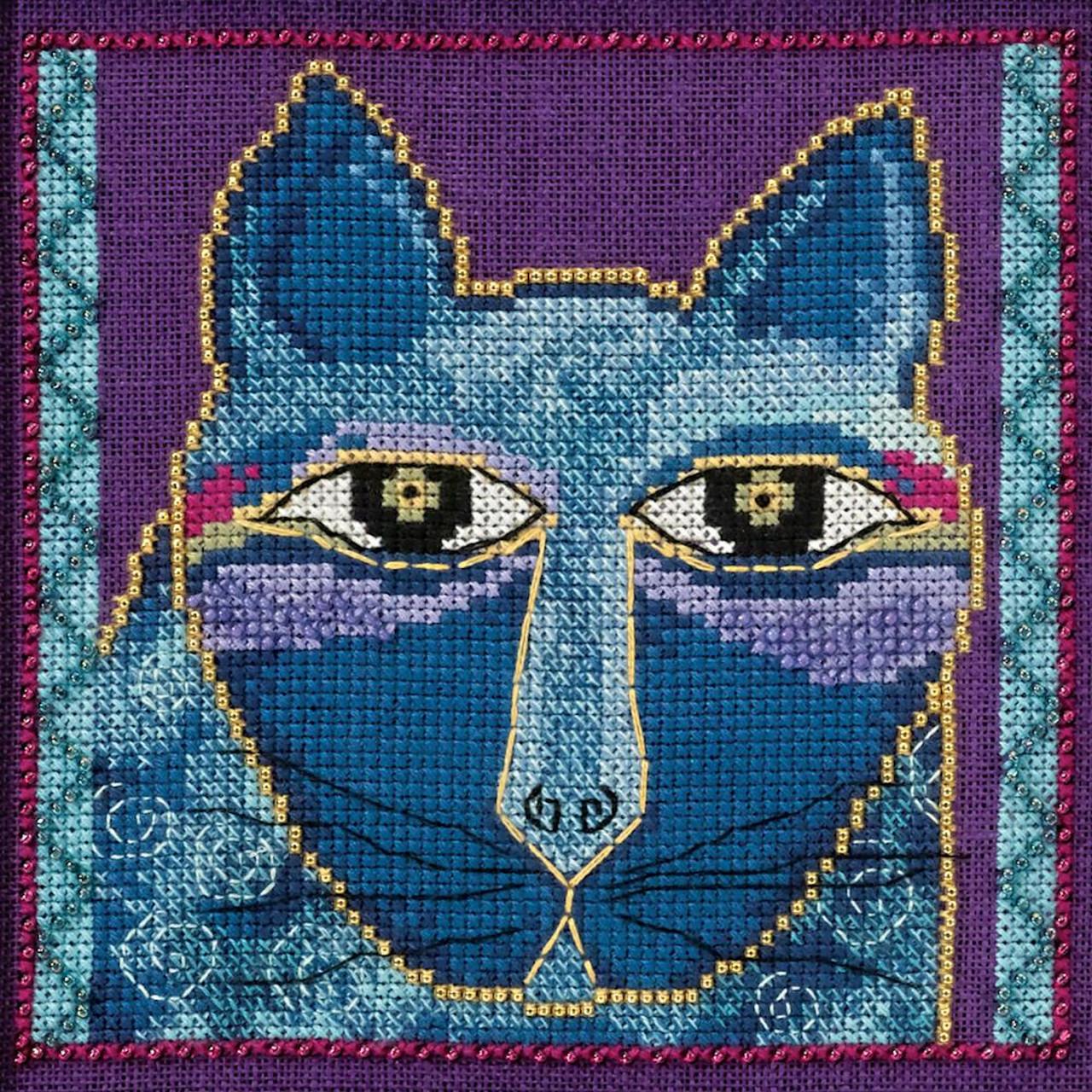 Mill Hill / Laurel Burch - Wild Blue Cat (LINEN)