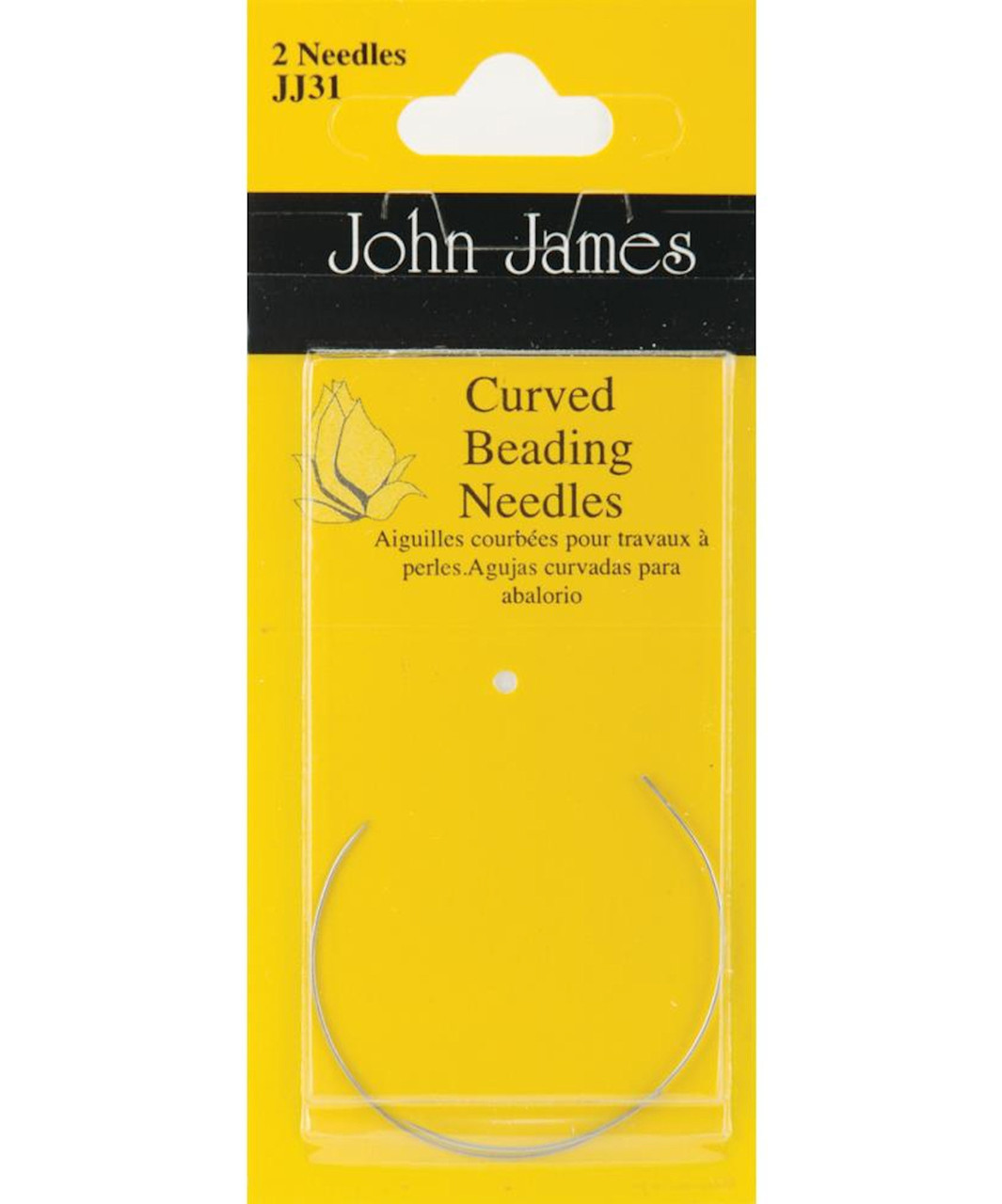 Ideal for Sequins /& Beads John James Curved Beading Needles Size 10 Twin Pack