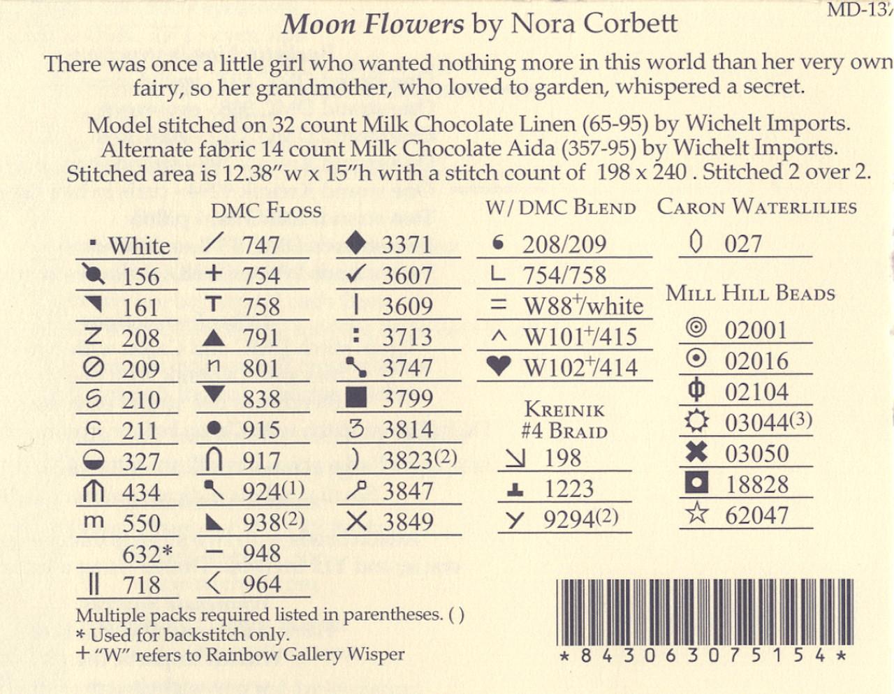 Moon Flowers by Nora Corbett Mirabilia Designs Cross Stitch Chart