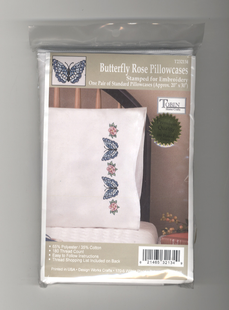 Design Works - Butterfly Rose Pillowcases (2)