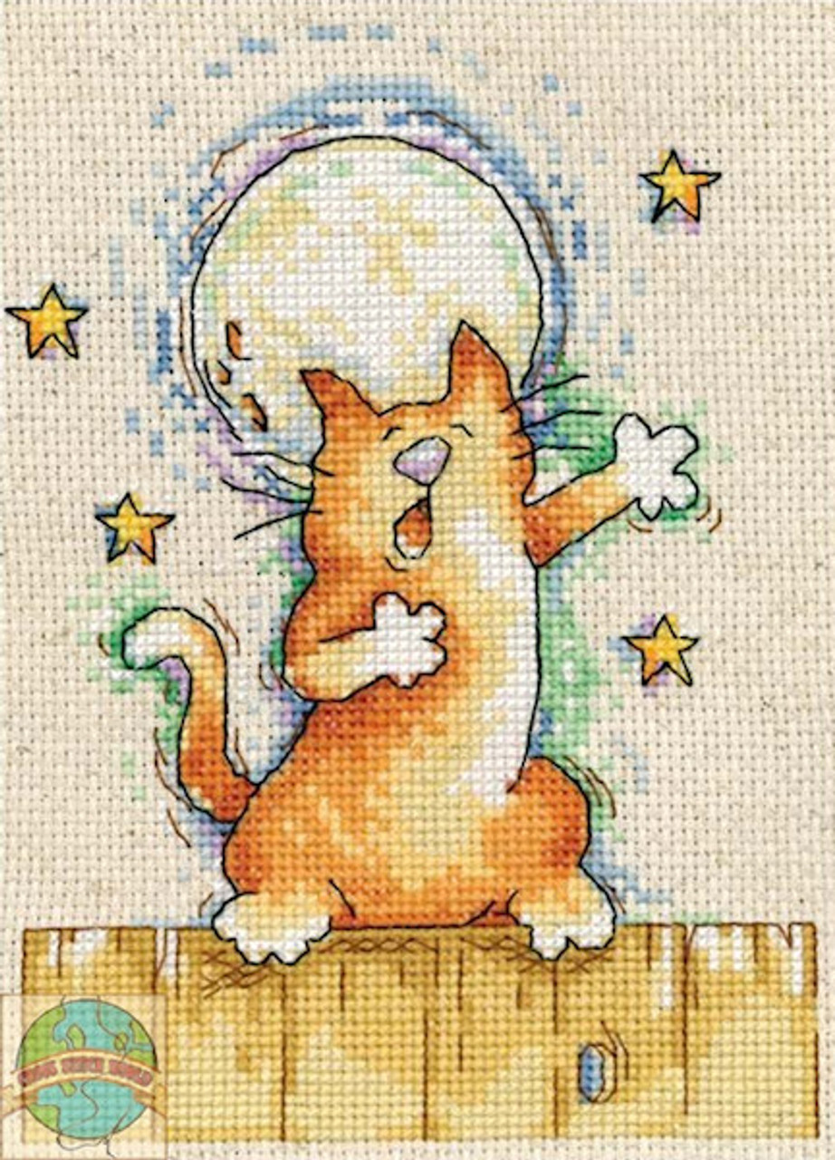 5 by 7 Design Works Crafts Cat and Mouse Counted Cross Stitch Kit