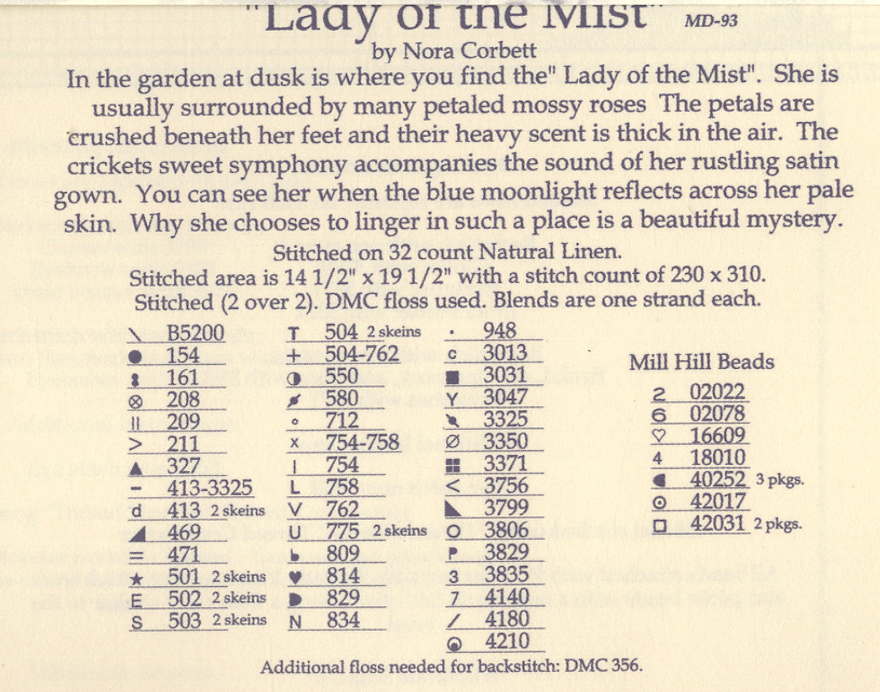 """COMPLETE X STITCH MATERIALS /""""LADY OF THE MIST/""""  MD93 by Mirabilia SALE"""