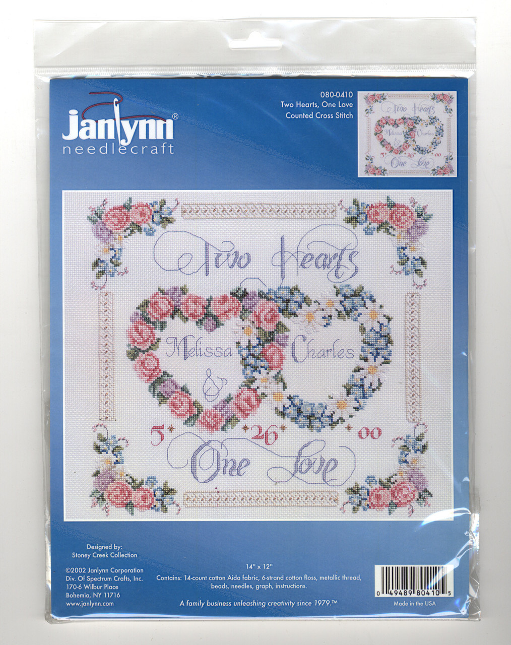 United Hearts Wedding Record Dimensions Needlecrafts Counted Cross Stitch