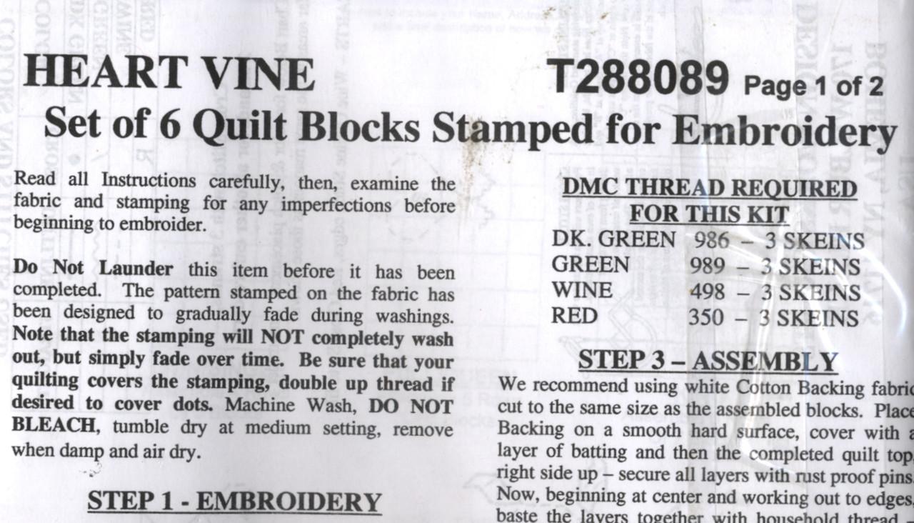 Design Works - Heart Vine Quilt Blocks (6)