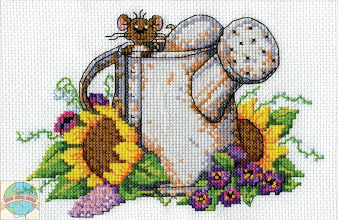 Design Works Watering Can Mouse Crossstitchworld