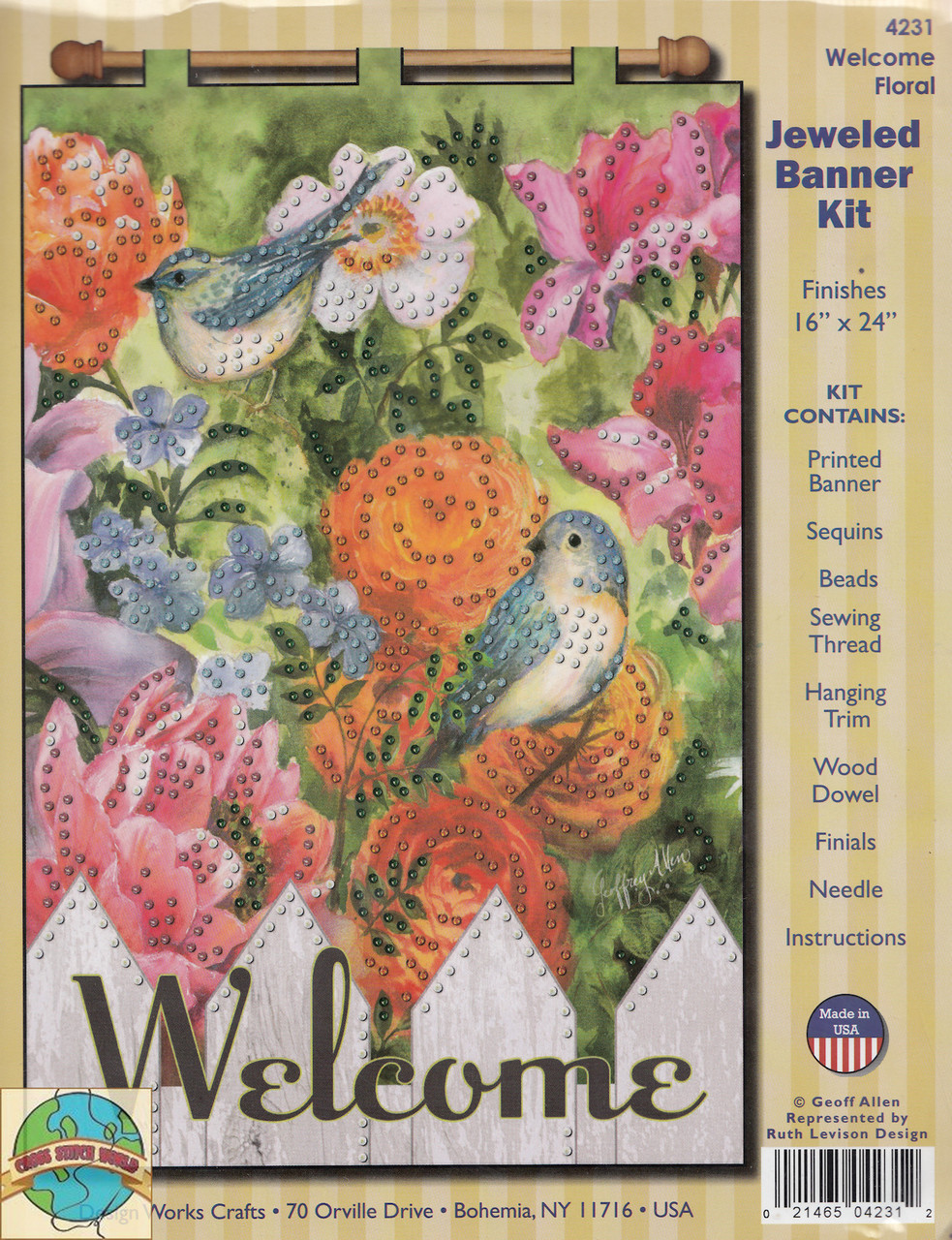 Design Works - Welcome Floral Jeweled Banner