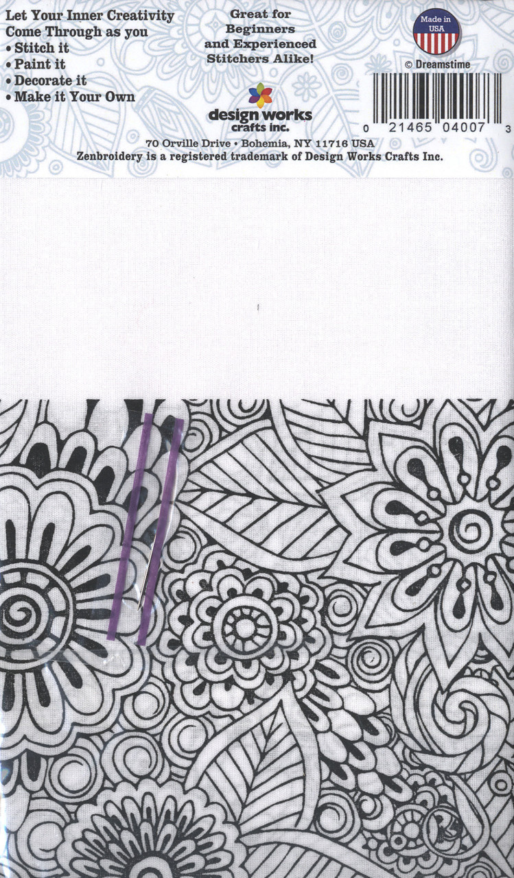 """Design Works - Zenbroidery Floral 10"""" x 10"""""""