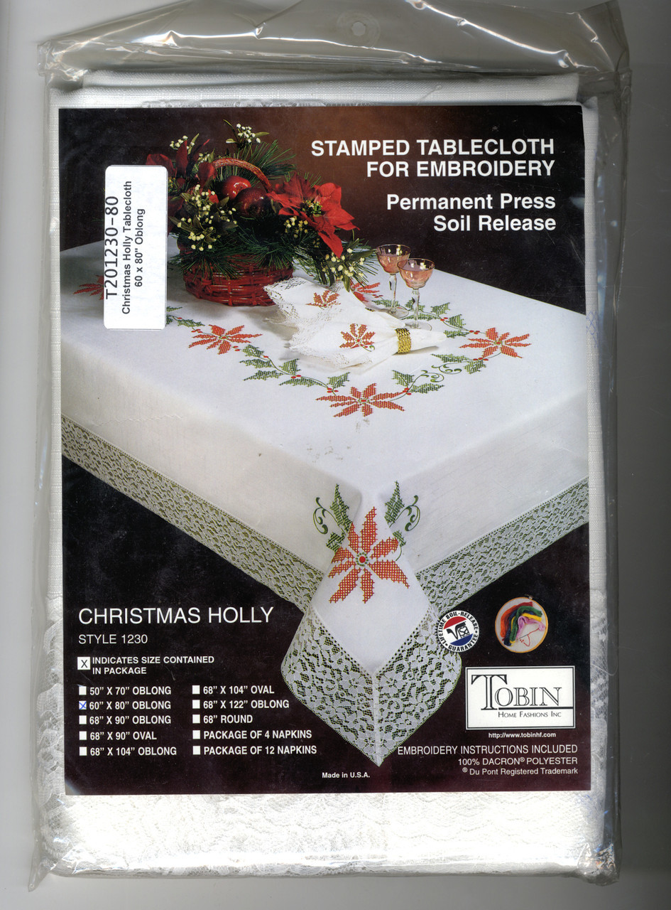 """Design Works - Christmas Holly 60"""" x 80"""" Oblong Tablecloth"""