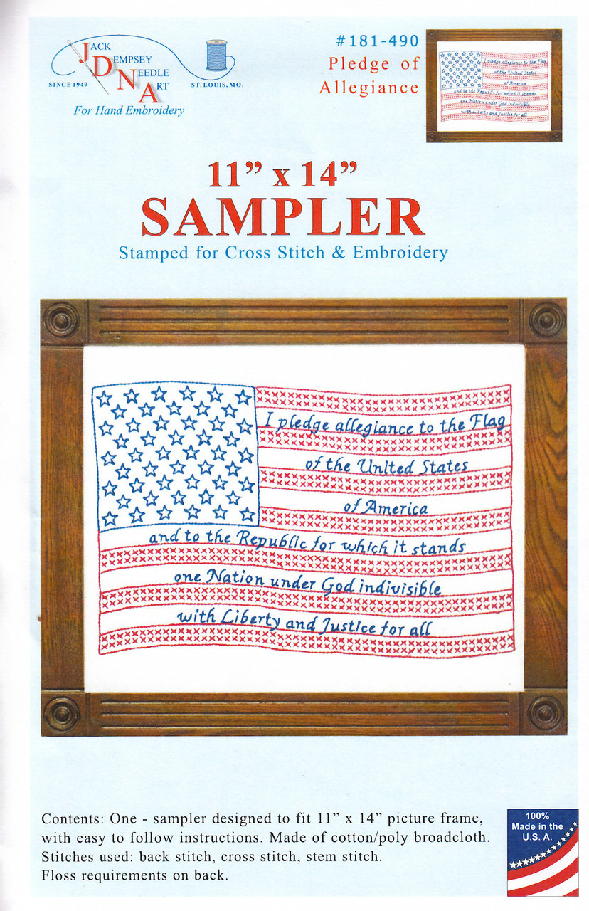 Jack Dempsey Needle Art - Pledge of Allegience Sampler
