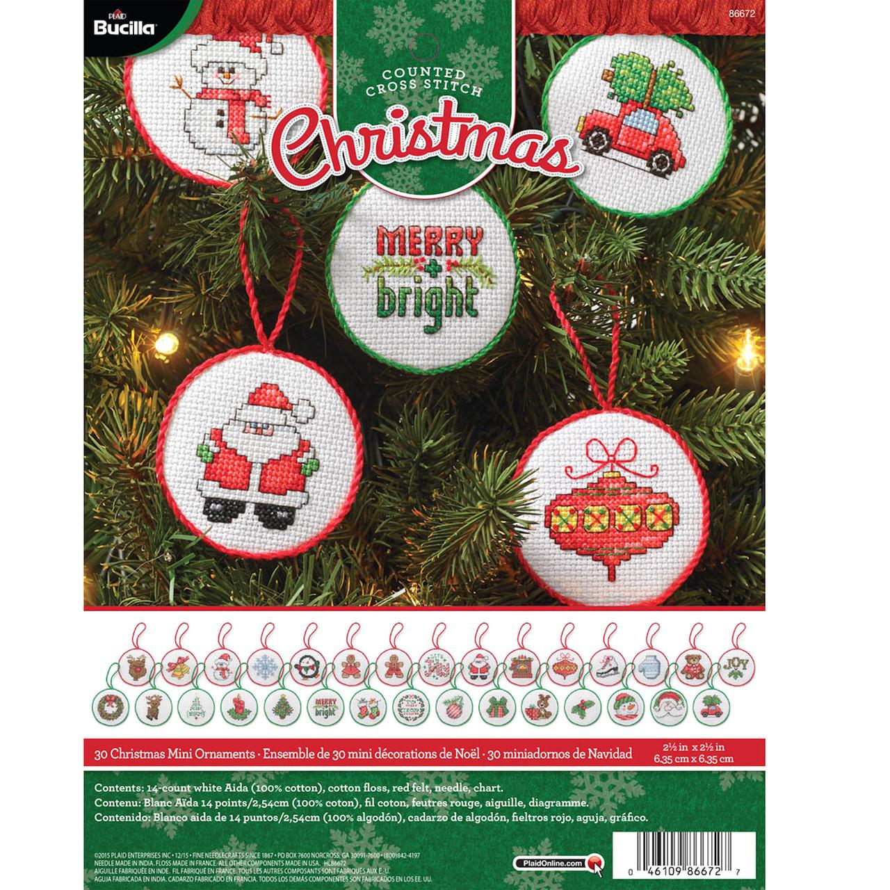 Bucilla Christmas Tiny Stockings Tree Ornament Kit 84293 Makes 30