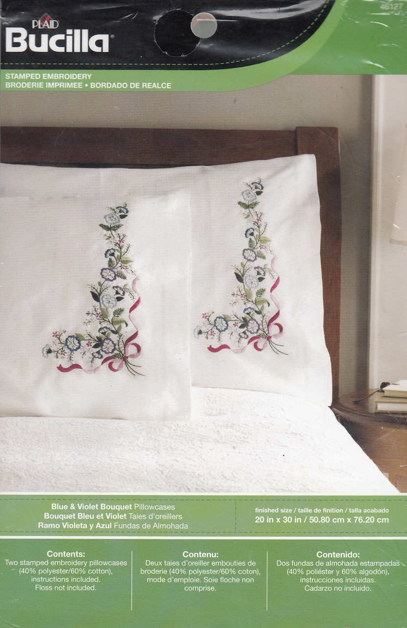 Plaid / Bucilla - Blue & Violet Pillowcases (2)
