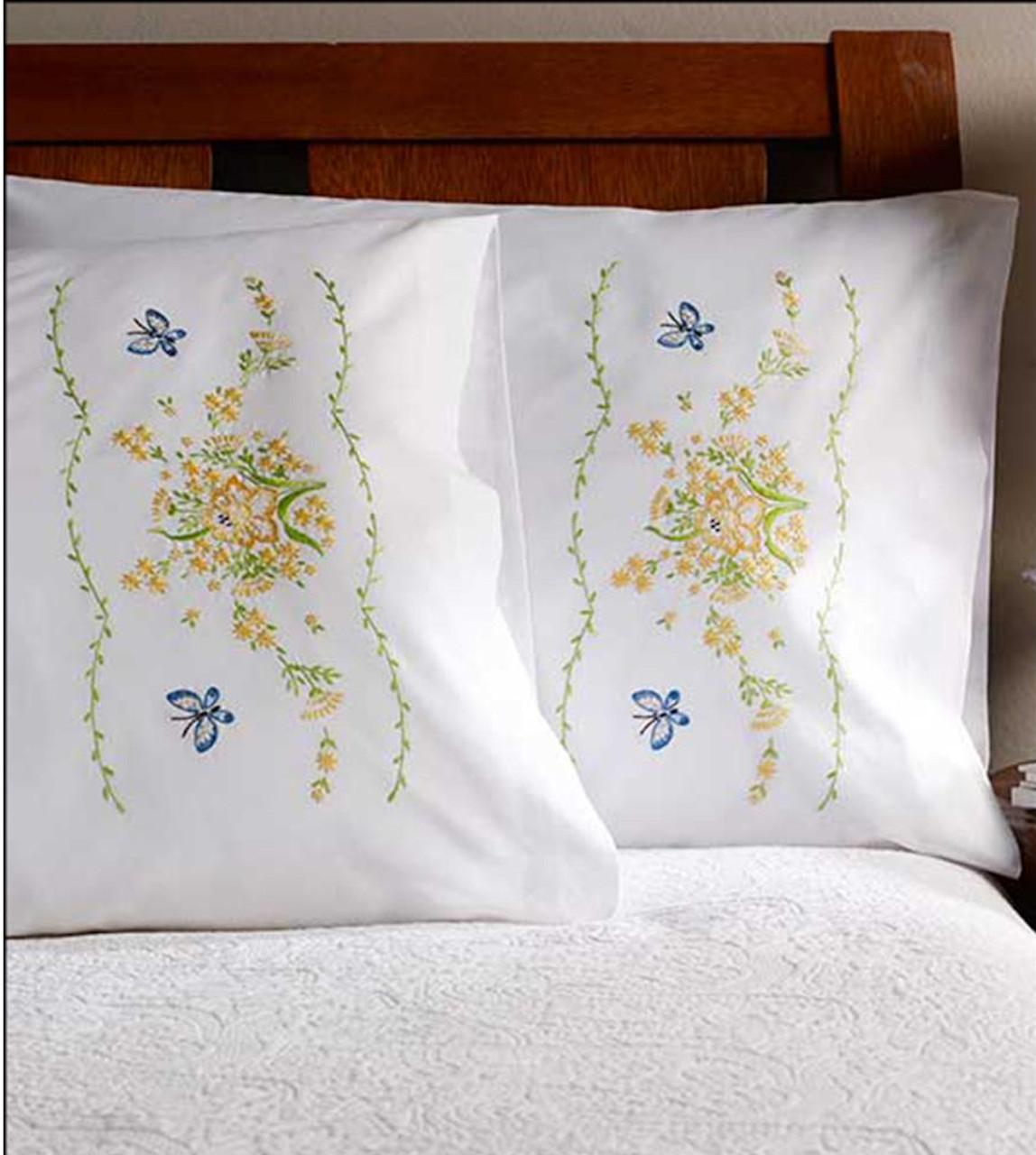 Plaid / Bucilla - Daffodil Pillowcases (2)