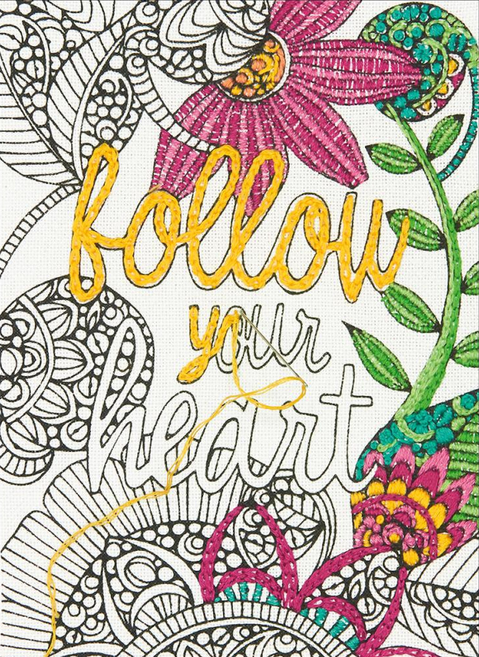 Dimensions Embroidery Coloring - Follow Your Heart