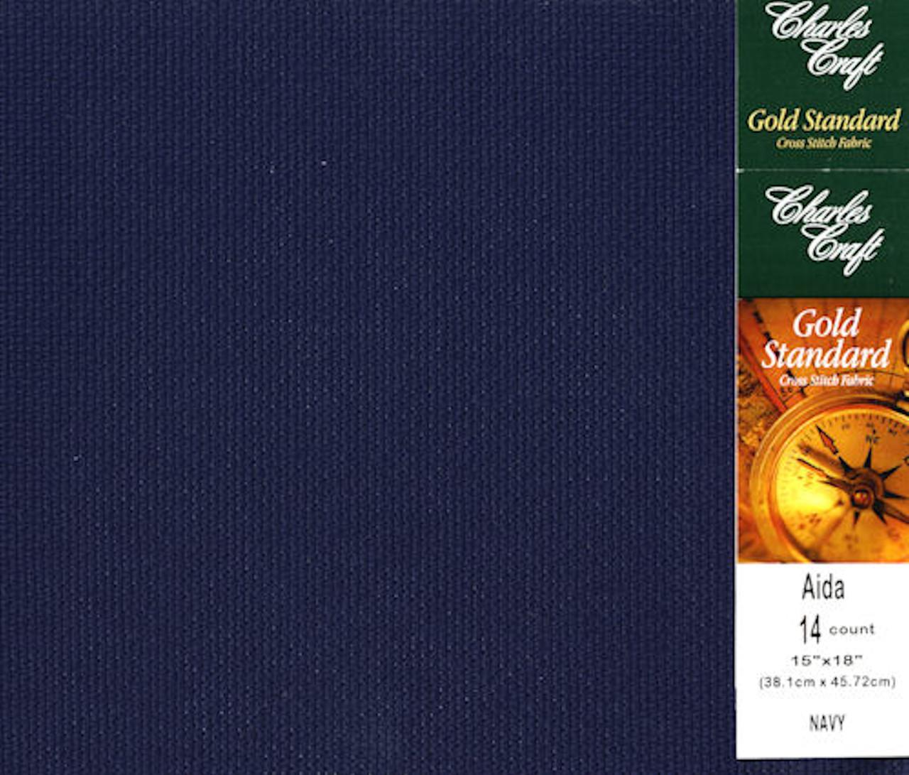 "Charles Craft - 14 Count Navy Aida Fabric 15"" x 18"""