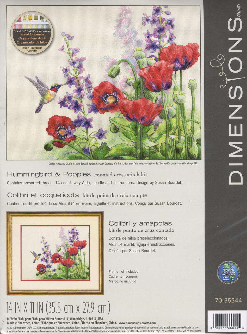 Dimensions - Hummingbird & Poppies
