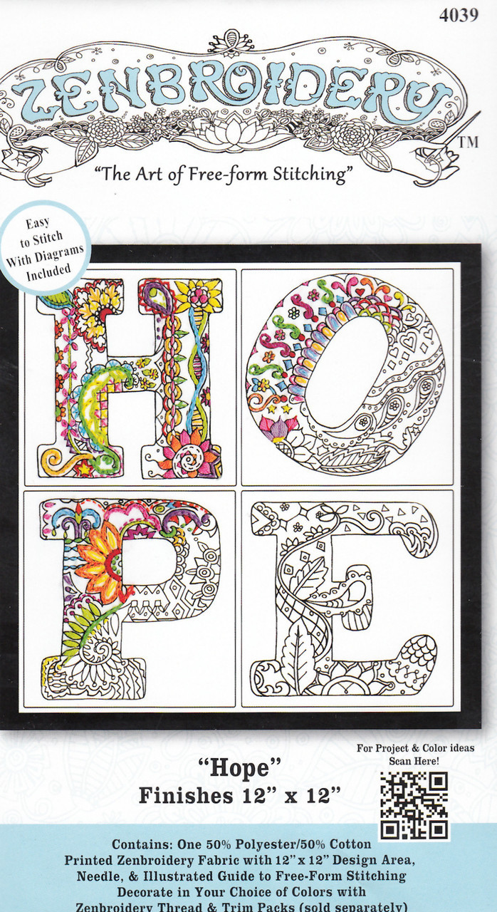 """Design Works - Zenbroidery Hope 12"""" x 12"""""""