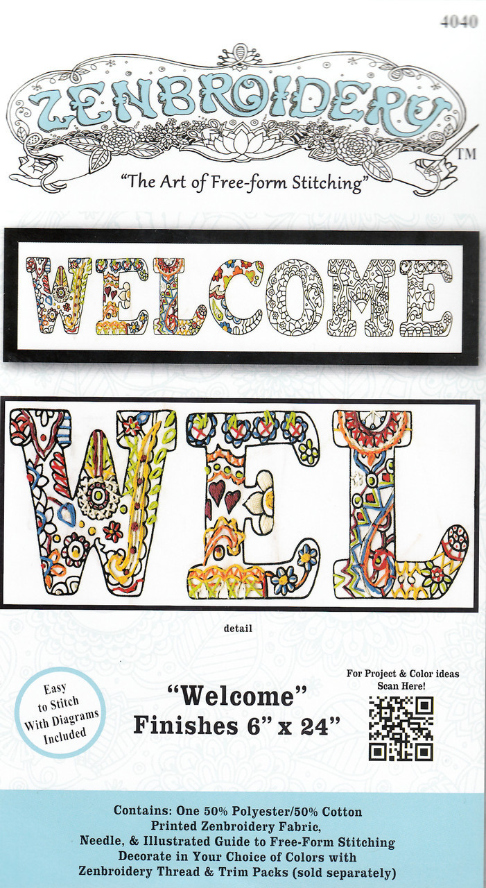 """Design Works - Zenbroidery Welcome 6"""" x 24"""""""