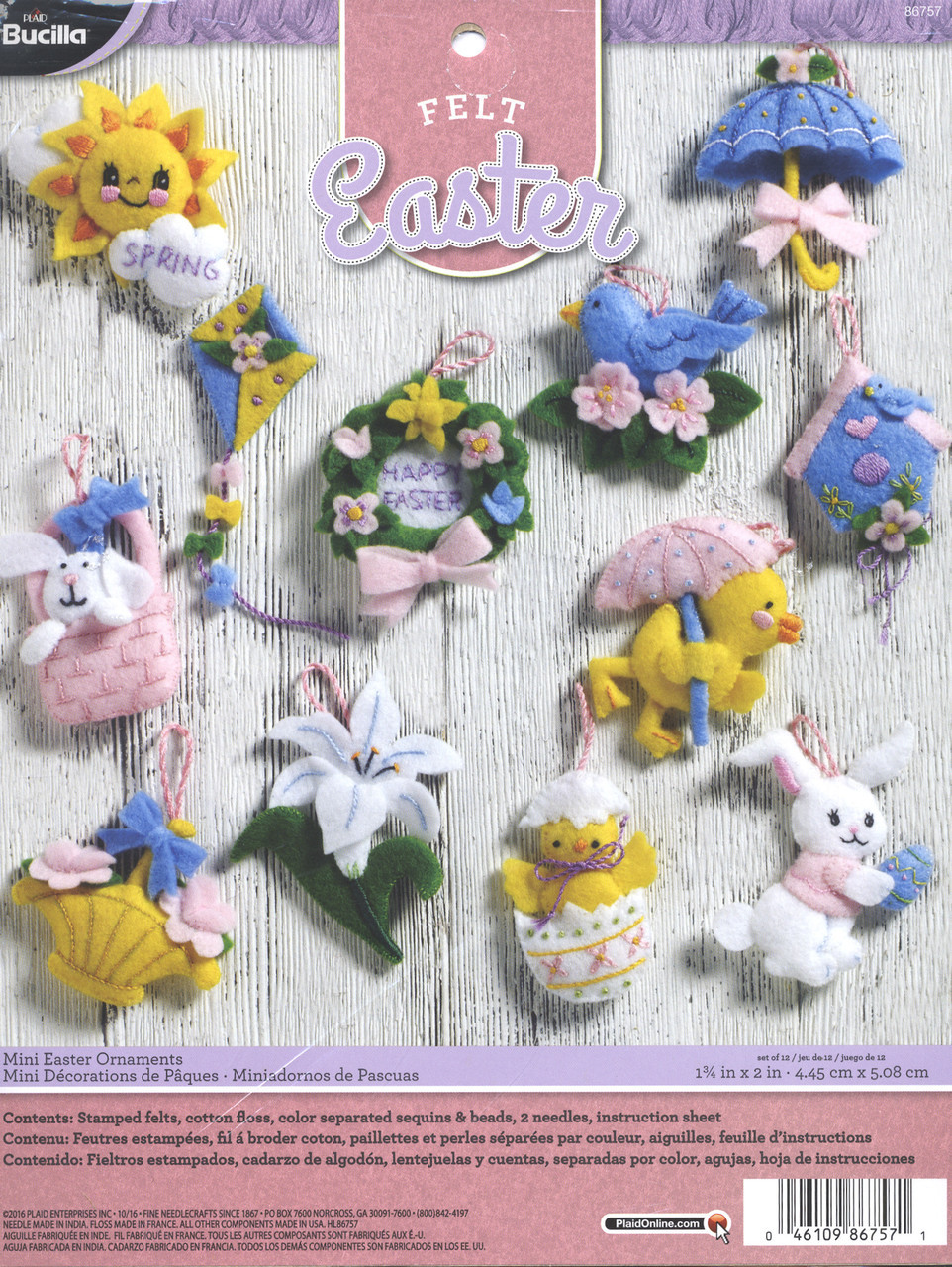 Plaid / Bucilla - Mini Easter Ornaments (set of 12)