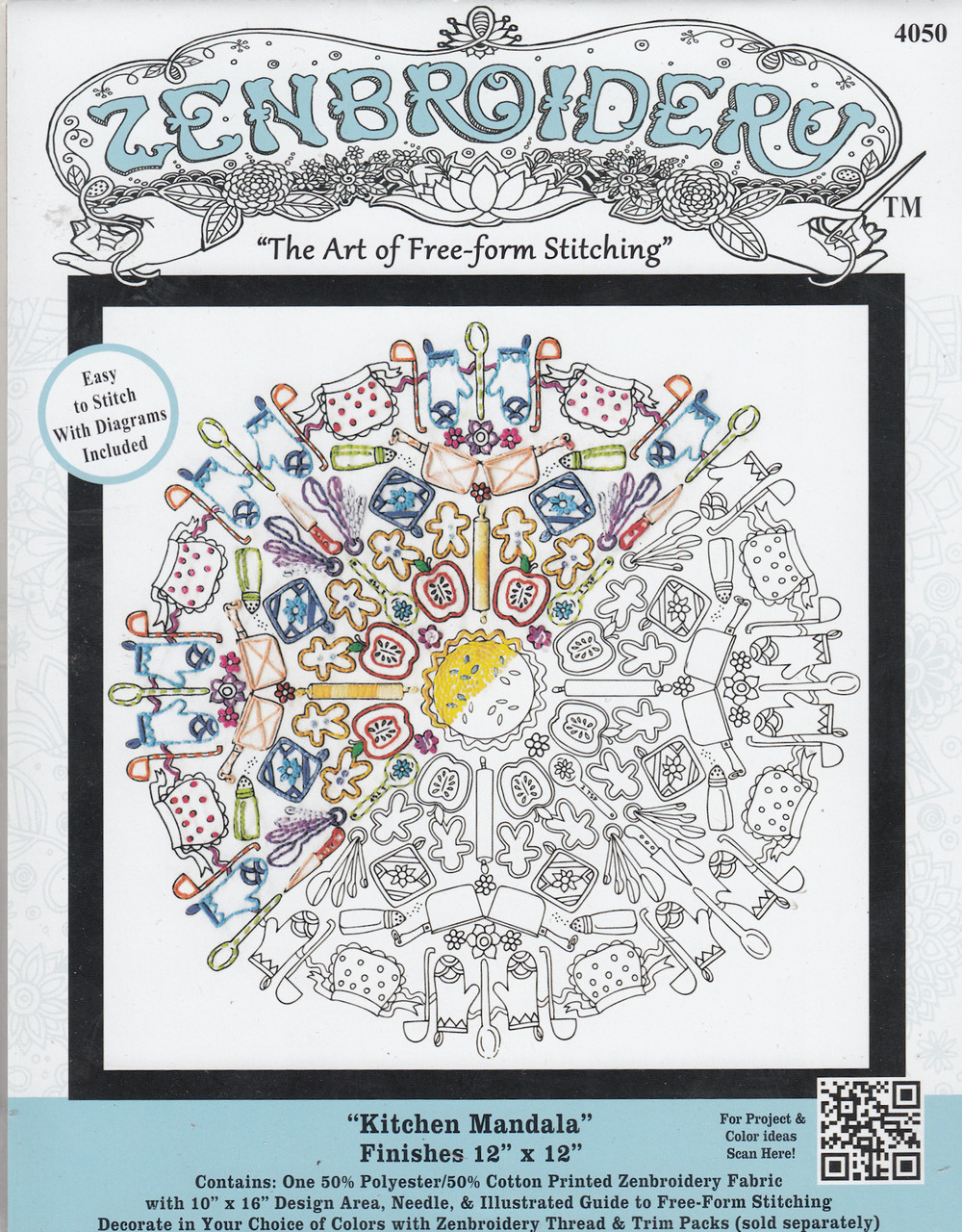 "Design Works - Zenbroidery Kitchen Mandala 12"" x 12"""