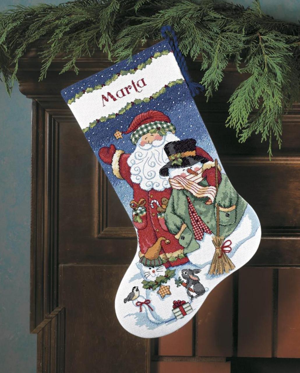 Dimensions - Santa and Snowman Stocking