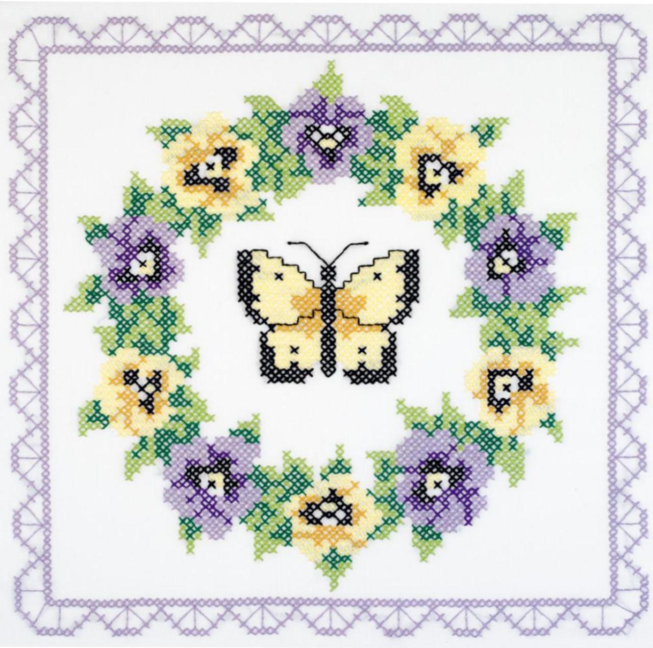 Janlynn - Pansy Wreath Quilt Blocks