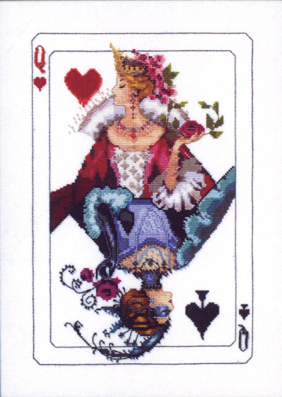 Royal Games II Queen of Diamonds Kit Chart Fabric Beads Braid MD154 Mirabilia