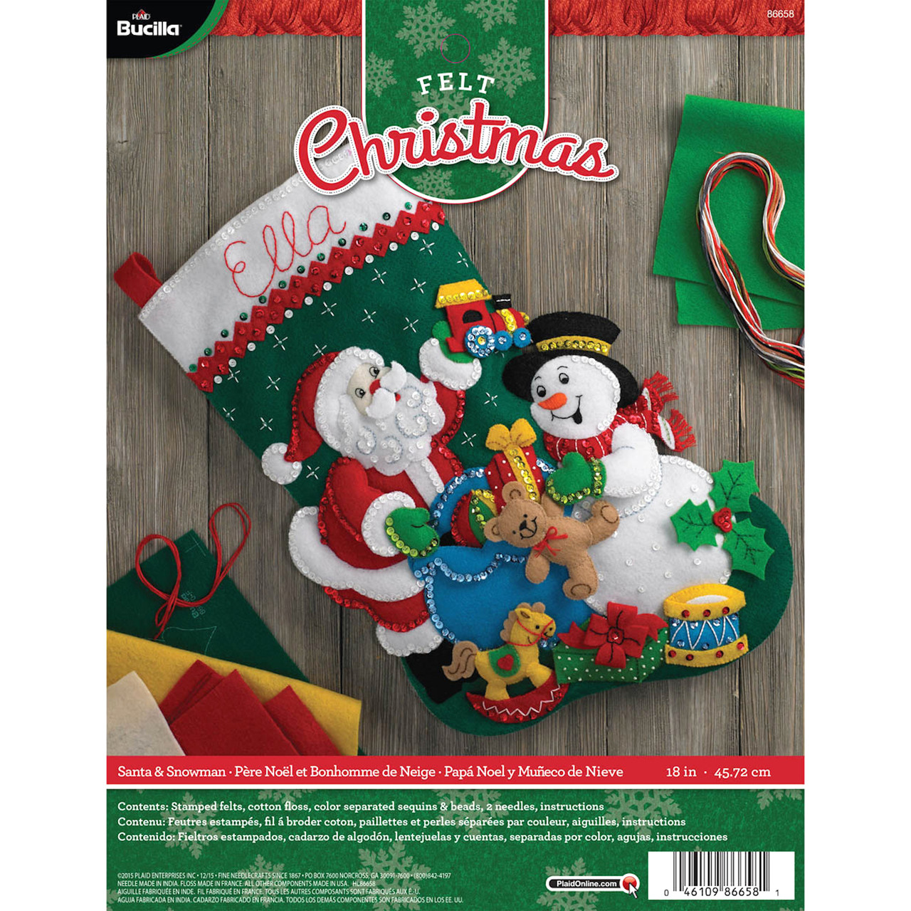 Plaid / Bucilla - Santa and Snowman Stocking