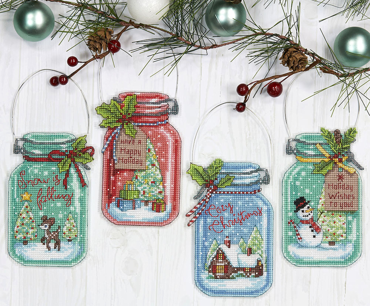 Dimensions , Christmas Jars Ornaments (Set of 4)