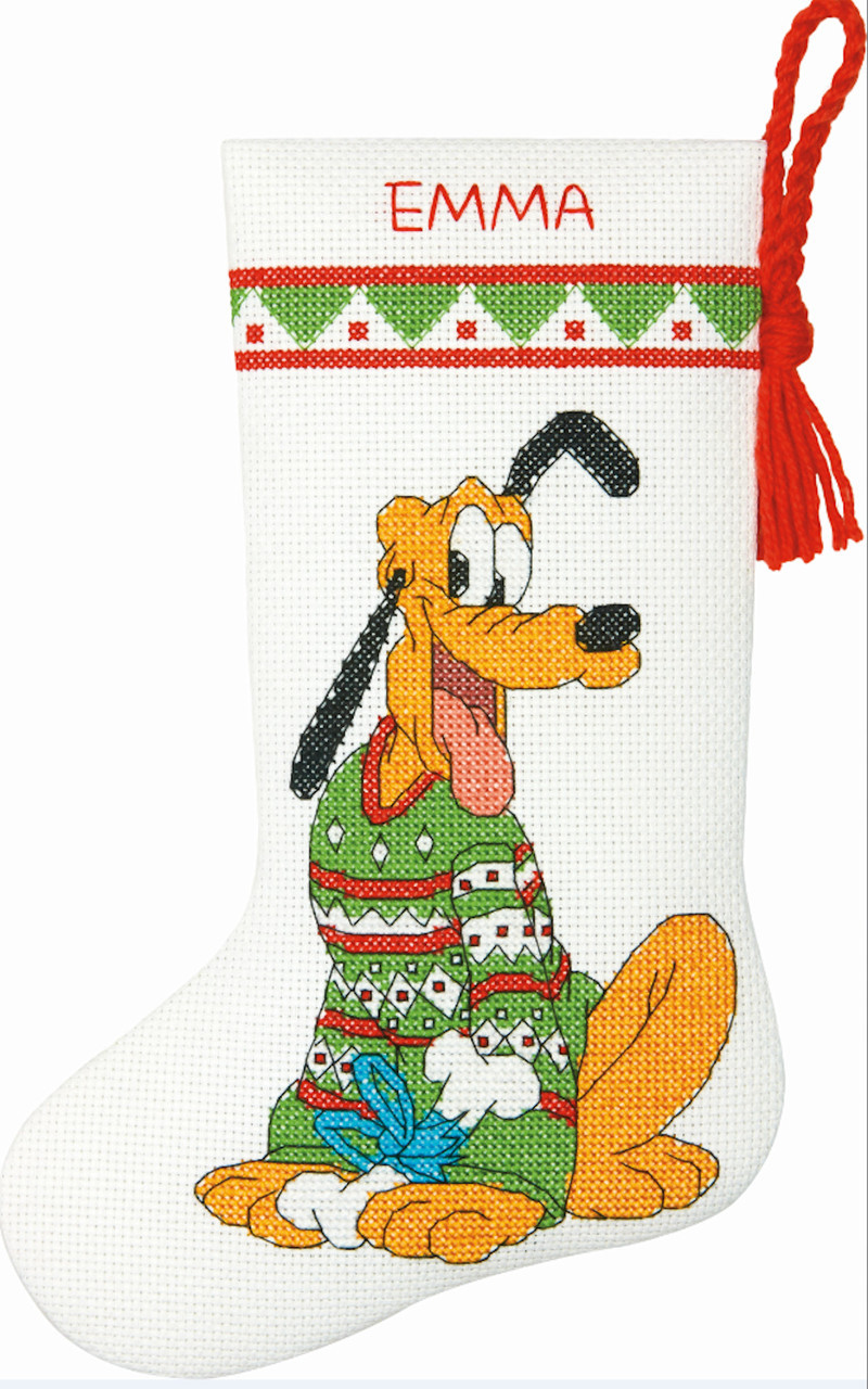 Disney Cross Stitch Christmas Stocking Patterns.Disney Pluto Petite Size Stocking