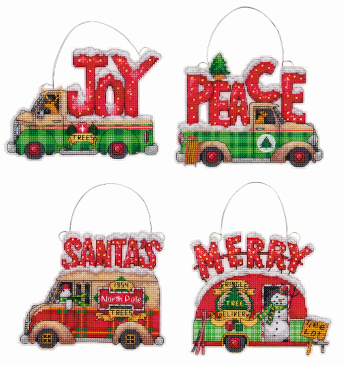 Dimensions - Holiday Truck Ornaments (Set of 4)