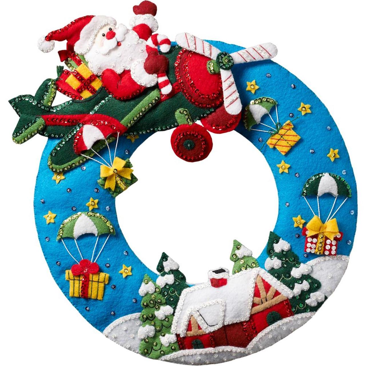 Plaid / Bucilla - Airplane Santa Wreath
