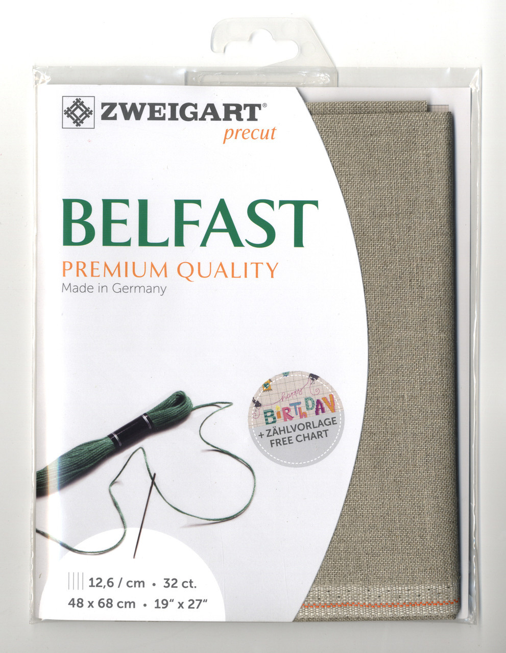 Zweigart - 32 Ct  Raw Belfast Premium Quality Linen 19 x 27 in