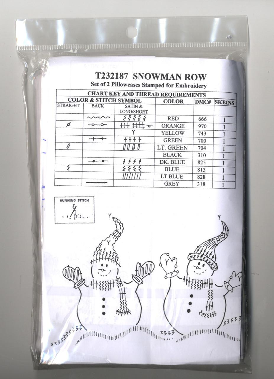 Design Works - Snowman Row Pillowcases (2)
