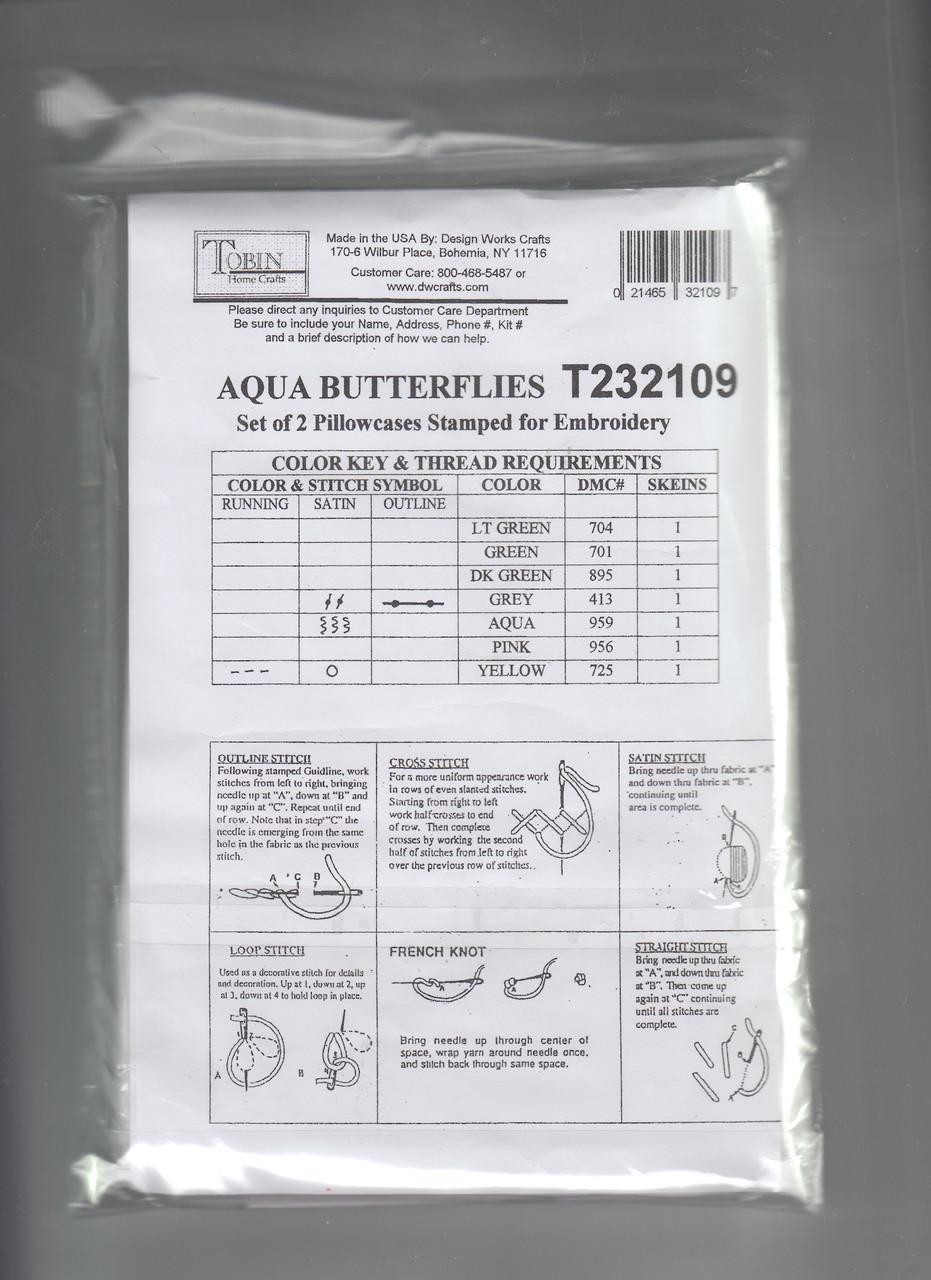 Design Works - Aqua Butterflies Pillowcases (2)