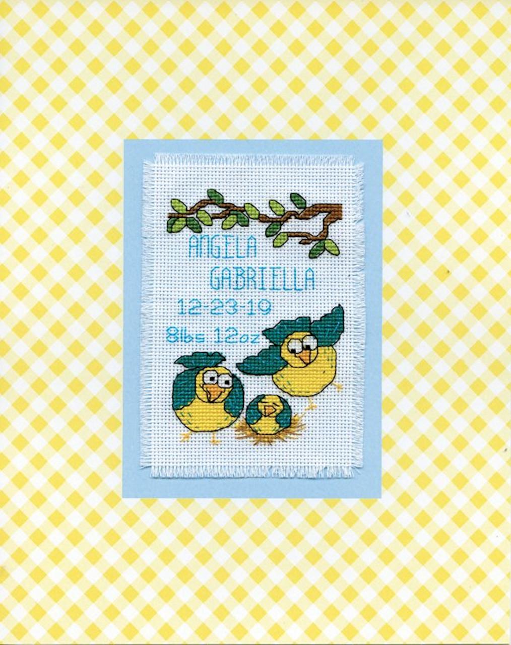 Design Works - Bird Family Birth Record Stitch & Mat