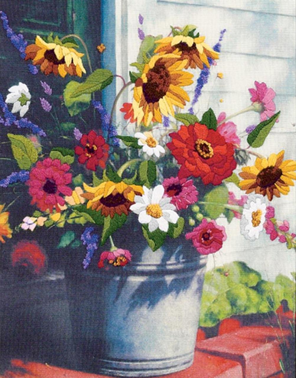 Dimensions Bucket Of Flowers Crossstitchworld