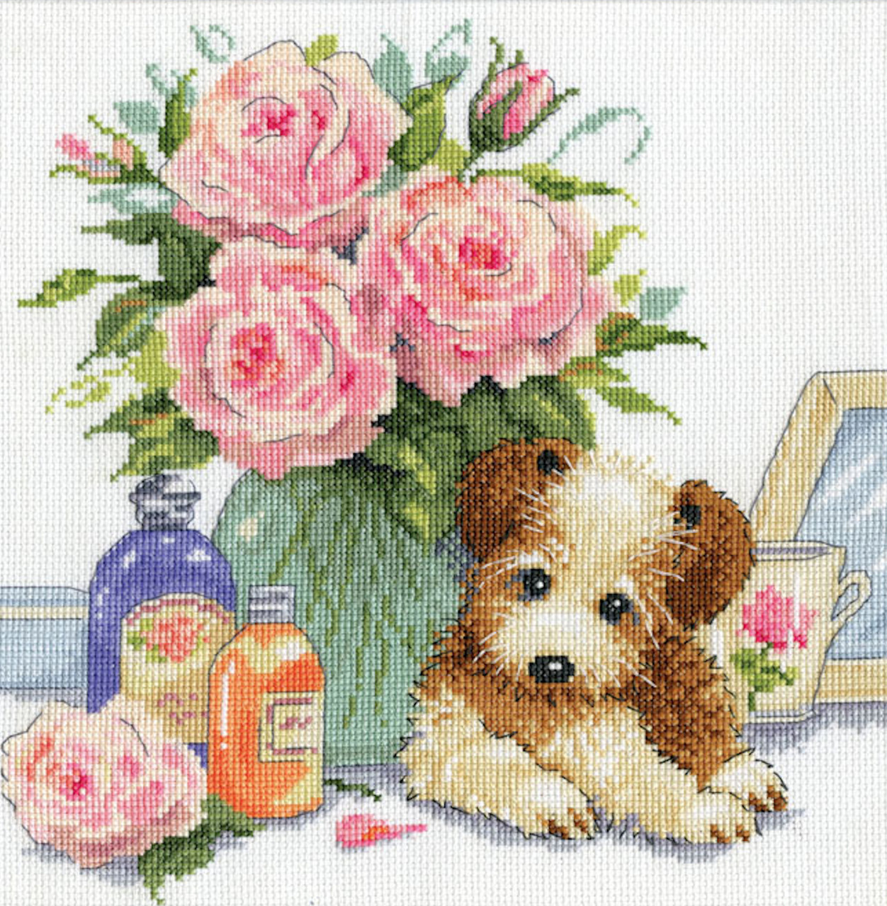 Design Works - Puppy with Roses