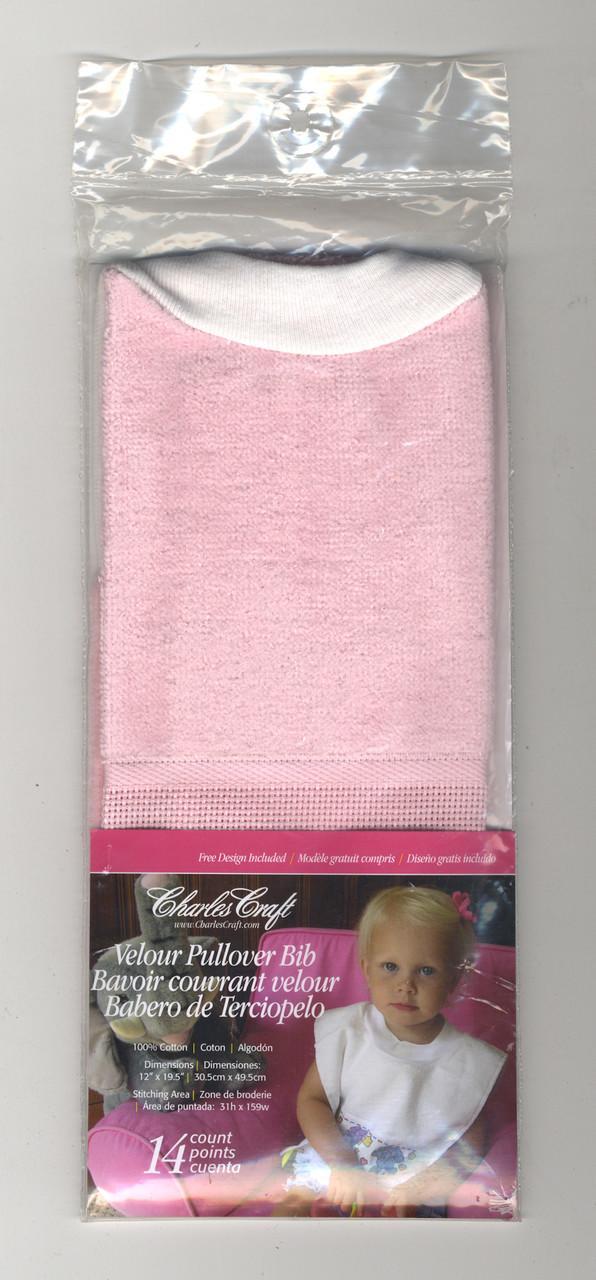 DMC Stitchable 14 count Light Pink Pullover  Velour Baby Bib