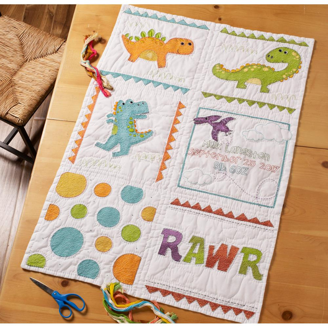 Baby Quilt Blocks.Plaid Bucilla Dino Baby Quilt Blocks
