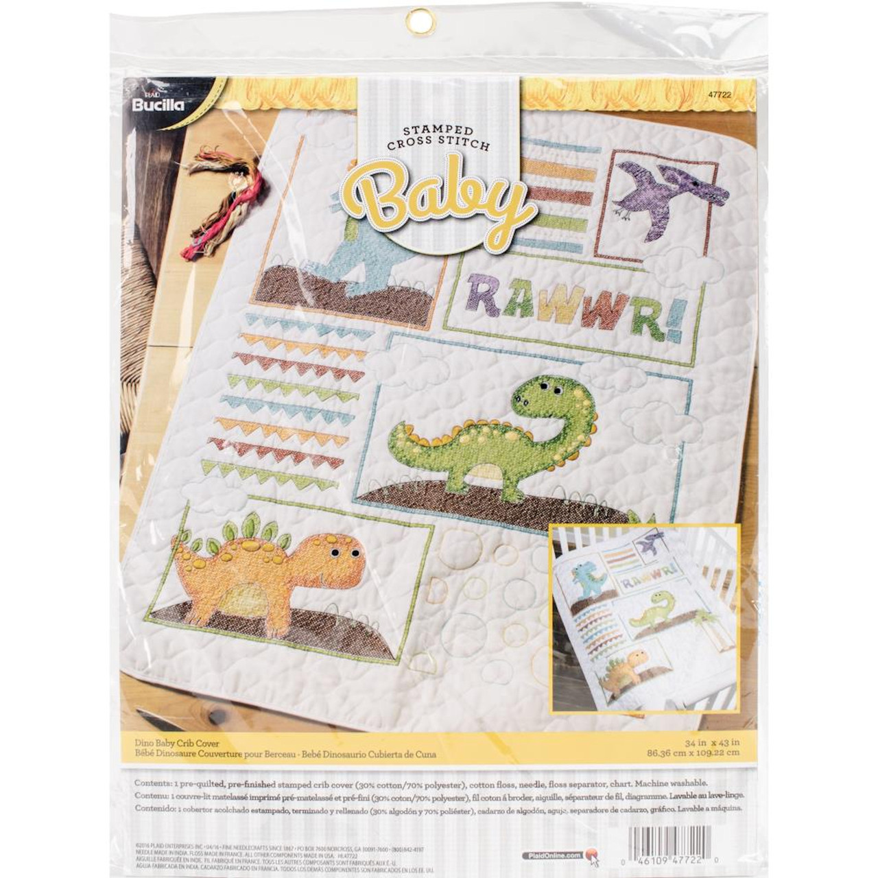 Plaid Bucilla - Dino Baby Crib Cover