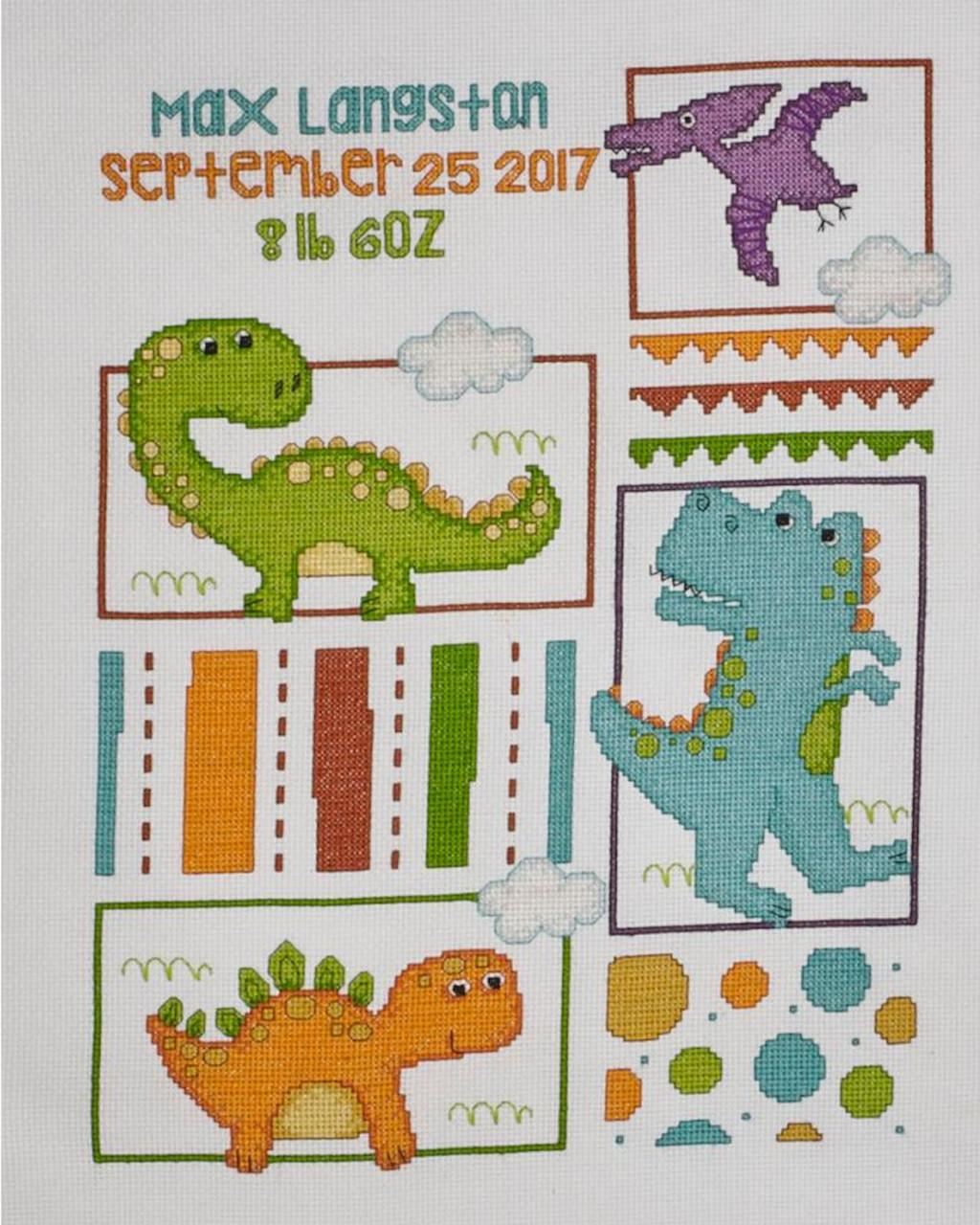 Plaid Bucilla - Dino Baby Birth Record