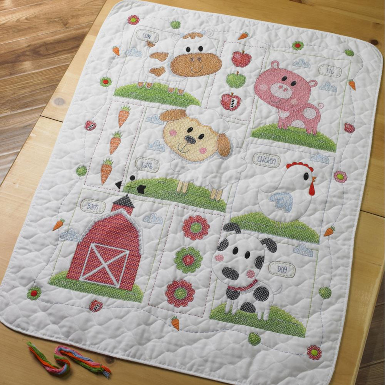 Plaid / Bucilla - Farm Animal Crib Cover