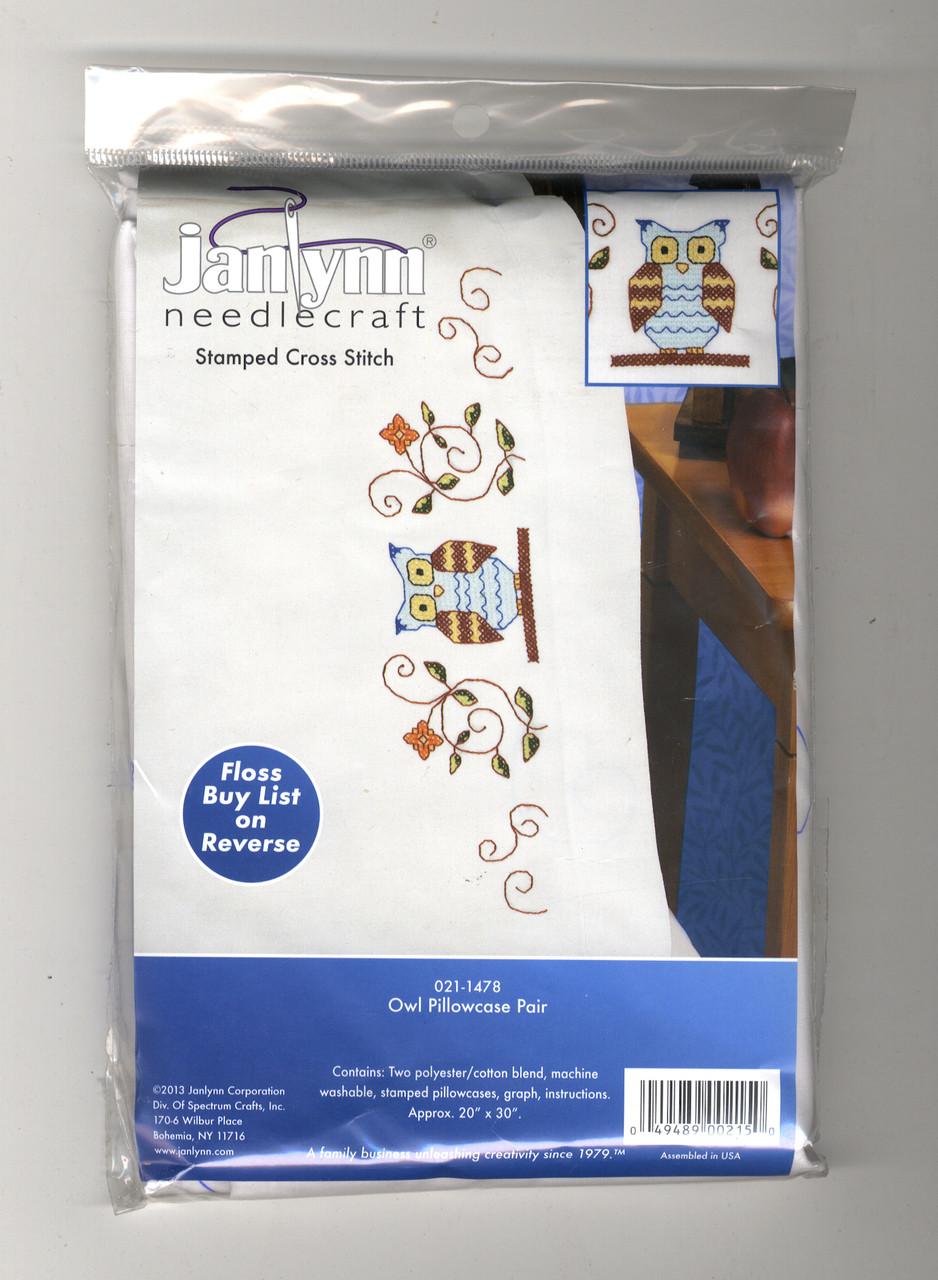 Stamped Cross Stitch ~ Janlynn Owl /& Filigrees PILLOWCASE PAIR #021-1478 SALE!