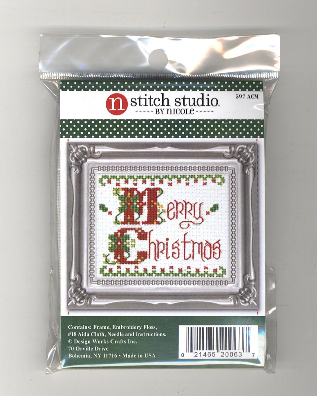Design Works Stitch Studio - Merry Christmas Picture Kit w/Frame