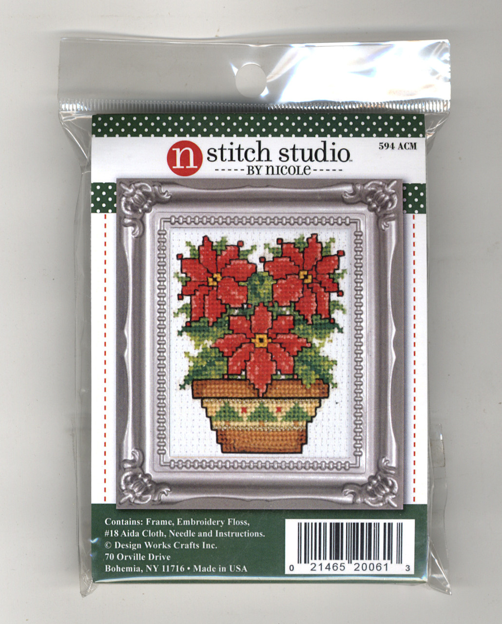 Design Works Stitch Studio - Poinsettias Picture Kit with Frame