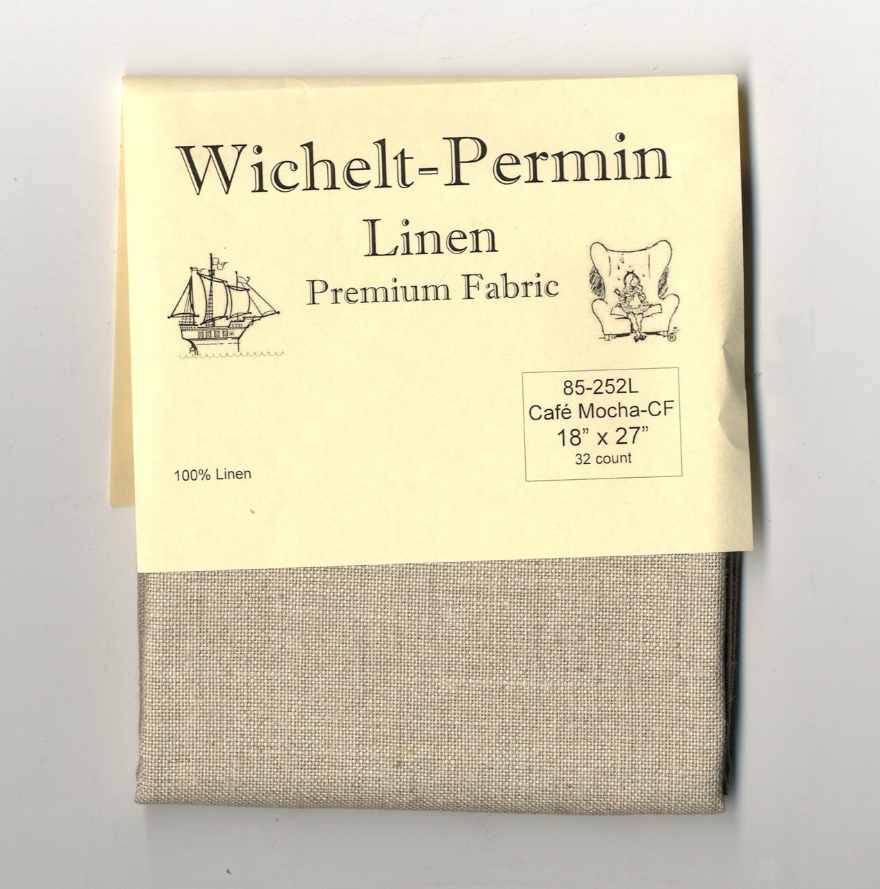 Wichelt Permin PREMIUM LINEN FABRIC 28 Ct Cross Stitch 18 x 27 MILK CHOCOLATE
